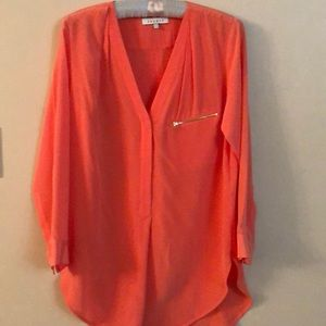 Sandro coral long sleeve blouse